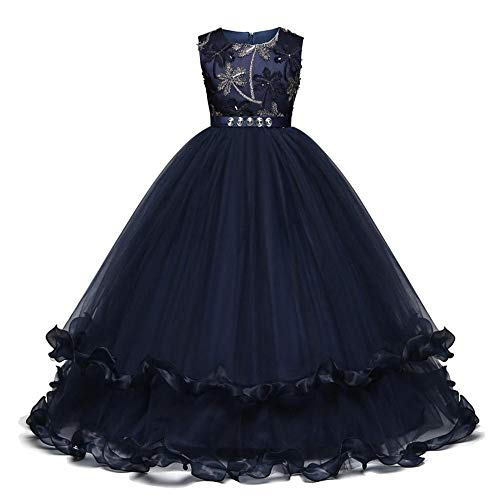 QINJLI Große Kinder Kleid Bestickt Diamanten flauschig ärmelloses Prinzessin Kleid Weihnachten Halloween Ball Geburtstagsparty Kleid