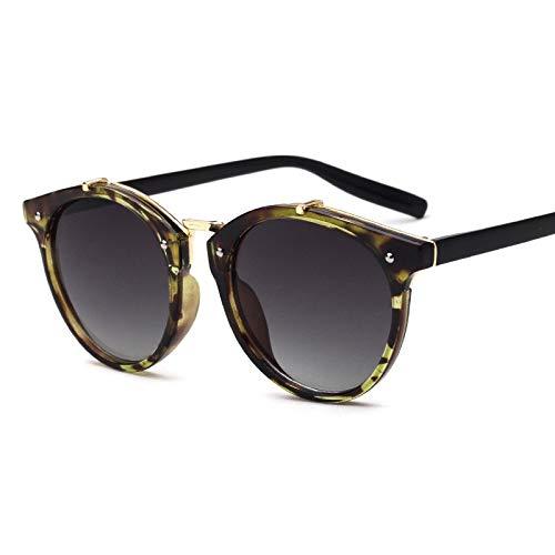 YUHANGH Vintage Runde Niet Sonnenbrille Frauen Brillen Farbverlauf Weibliche Retro Sonnenbrille Elegante De Sol