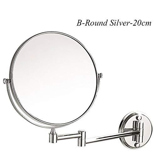 Badezimmerspiegel Make-up Kompakte Spiegel Folding Hotel Rotat Spiegel Teleskop Doppelseitige Vergrößerung Kosmetikspiegel Wandbehang,Silver-B-20CM -