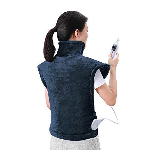 60 x 90cm Almohadilla Térmica Eléctrica para la Espalda, Hombros y Cuello Calentado con Tecnología de Calentamiento Rápido con 5 Niveles de Temper