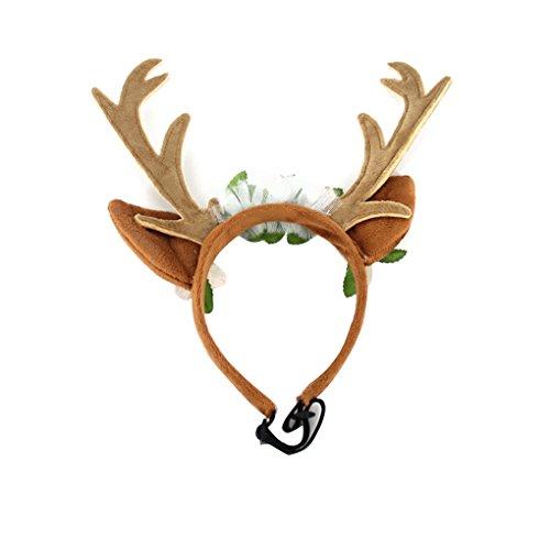 Minzhi Pet Deer Horn Blüte Band Cat Grooming Weihnachten Kopfbedeckung Hundewelpen-Kätzchen-Haarschmuck M