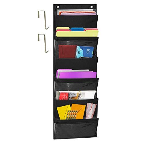 godery über der Tür zum Aufhängen Datei Ordner Organizer, Stoff Office Supplies Lagerung Organizer, Wandhalterung Pocket Diagramm Storage für, Schule, Klassenzimmer, Home, Closet, 6Taschen 6/ Black -