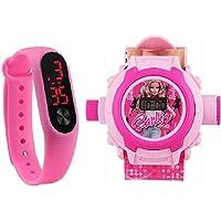 McLaren Digital LED Pink Band & Barbie Projector Light 24 Barbie Cartoon Watch - for Kids