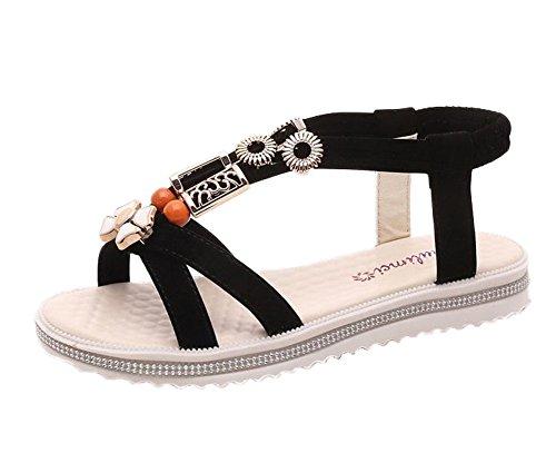 Minetom Donna Estate Open-toe Sandali con Tacco Piatto Boemia Stile Spiaggia Scarpe Gladiatore Sandals Con Perline Nero