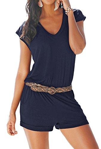 Aitos Aitos Jumpsuits Damen Kurz Sommer Strand Spielanzug Einteiler Overalls Hose Elegant Playsuit V-Ausschnitt Elastisch Hohe Taillen Casual Blau S