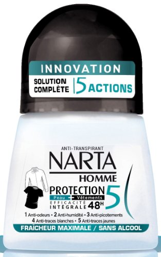 Narta - Déodorant Homme Bille Anti-transpirant Protection 5 Efficacité 48h - 50 ml