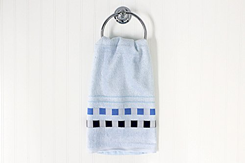 Bambus Home USA Bambus Viskose Ultra Soft Ultra Think Checker Edge Handtuch Bad Fingertip Handtuch, blau, Fingertip Towel -