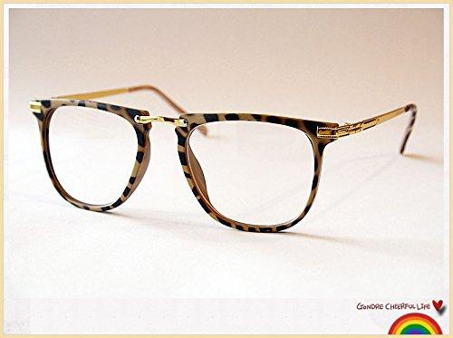 Schildpatt Leopard Print Vintage Geek Retro Clear Lens Fashion Brille