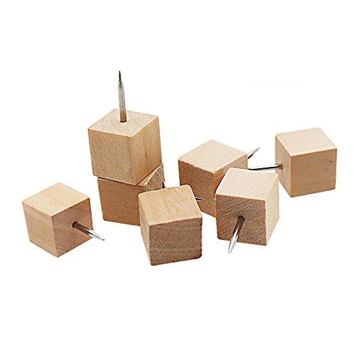 TOOGOO 60pzs Chinchetas decorativas de madera cuadrada, Tachuelas de punto de aguja de acero y cabezal de madera para fotos, mapas y tablas de corcho