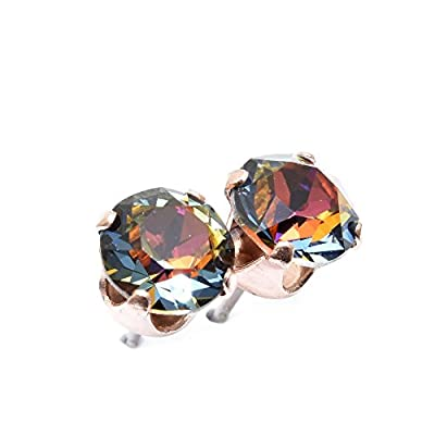 pewterhooter Rose Gold stud earrings expertly made with Volcano crystal from SWAROVSKI®.