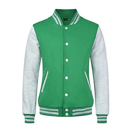 Herren Bomber Jacke Varsity Jacket Letterman Baseball Bequeme Größen Jacke Langarm Stehkragen Einreihig Seitentaschen Pilotenjacke Mantel Kleidung (Color : Grün, Size : 2XL)