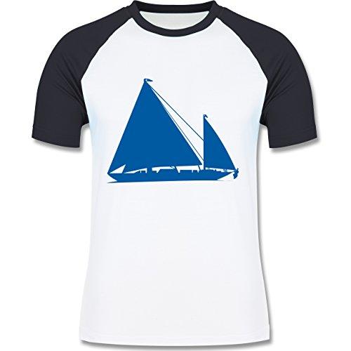 Schiffe - Segelboot - zweifarbiges Baseballshirt für Männer Weiß/Navy Blau