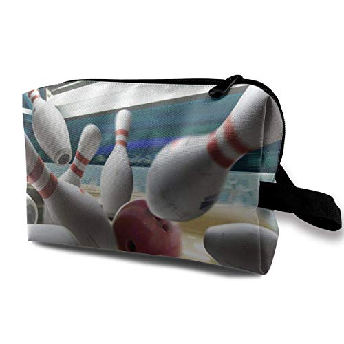 Bowling Ball and Skittles Lady Travel Make Up Bag Toiletry Clutch Bag (Womens Ball Bowling)
