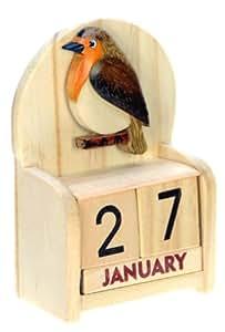rotkehlchen ewiger kalender handgefertigte holz gr e. Black Bedroom Furniture Sets. Home Design Ideas