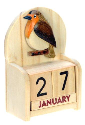 Rouge-gorge : Calendrier Perpétuel en Bois : traditionnel fait main cadeau d'anniversaire et de Noël Idées cadeau de Noël : Taille : 10,5 X 7 X 3,5 Cm : achetez un insolite et Quirky Alternative à un calendrier de l'avent : unique et fantaisie cadeau : cadeau pour tous les âges. de la date Forever Plus.