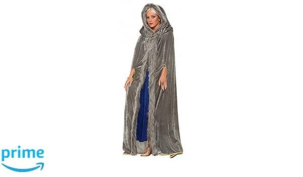 83a6fb7565f6a Grauer Mittelalter Samt-Umhang mit Kapuze für Damen-Kostüm GoT WoW LARP  Mantel Cape  Amazon.de  Spielzeug