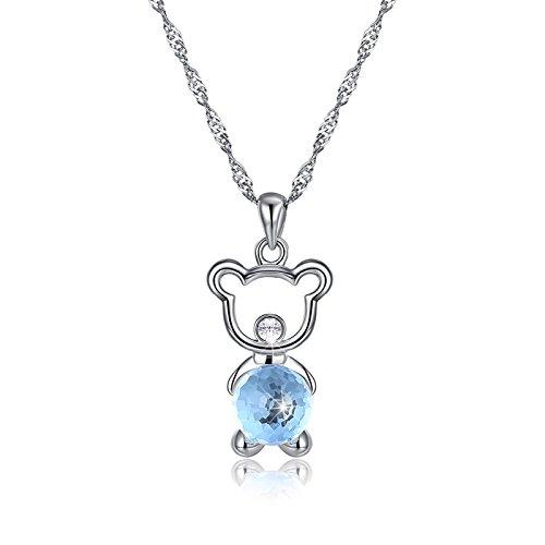 DOLOVE Herren Damen Unisex Kinder - 925 Sterlingsilber Sterling-Silber 925 Rund Blue Kristall
