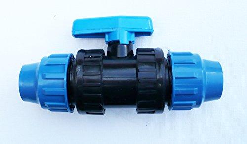 Farm & Field Hardware Raccord à compression cannelé Avec valve à boisseau sphérique intégrée 20 mm, 25 mm, 32 mm. 20 mm Compression