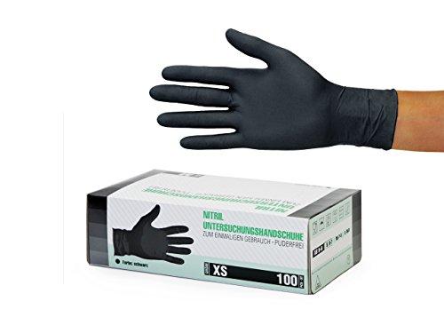 Nitrilhandschuhe 100 Stück Box (XS, Schwarz) Einweghandschuhe, Einmalhandschuhe, Untersuchungshandschuhe, Nitril Handschuhe, puderfrei, ohne Latex, unsteril, latexfrei, disposible gloves, black, X Sm