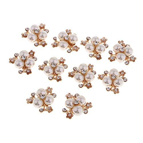Quilten Bekleidung (Hellery 10 pcs Kristall Perle Button Brosche Perlen Bekleidung Schmücken Verzierungen)
