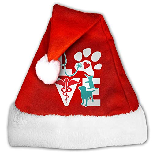 Veterinarian Love Cat and Dog Veterinary Christmas Hat, Red&White Xmas Santa Claus' Cap for Holiday Party Hat,Size: Medium