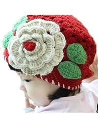 LadyMYP©Handgemachte Strickmütze, Babymütze, Kindermütze, Hüte, 100% Wolle, rote Mütze mit weißer Blume