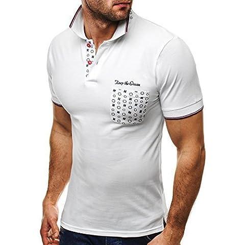 OZONEE Camiseta hombre con estampado Manga corta Camisa Polo camiseta Audruck Ceñido Cuello kent JACK DAVIS 158