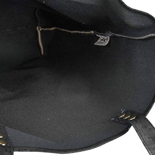 CorkLane Damen Fold over bag Korkleder vegan Falt-Handtasche Tasche Kork schwarz - 5