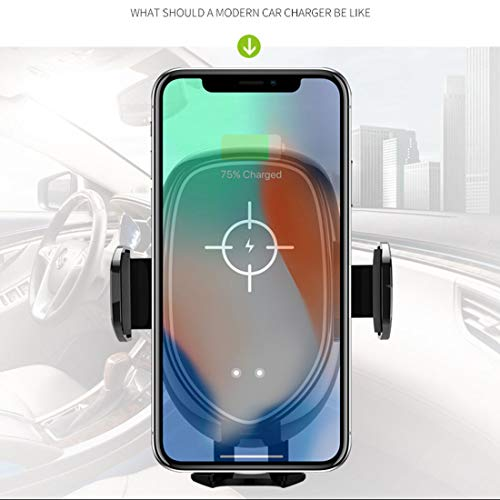 RUNNG Caricabatterie per sensore Smart Car per Auto Wireless Nero, Funzionamento con Una Sola Mano Serratura Automatica, Installazione 2 in 1 (Prese d'Aria/cruscotto)