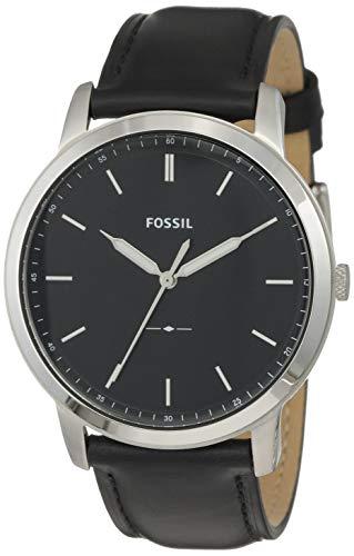 Fossil Herren Analog Quarz Uhr mit Leder Armband FS5398 (Fossil Schwarz Leder Uhr)