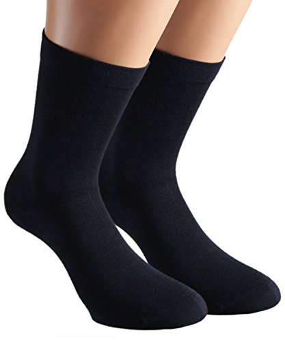 Vitasox 11123 Damen Socken Extra weit Baumwolle Gesundheitssocken Sensibel Ganz ohne Gummi ohne Naht 6er Pack Marine 39/42 (Socken Diabetiker-casual)