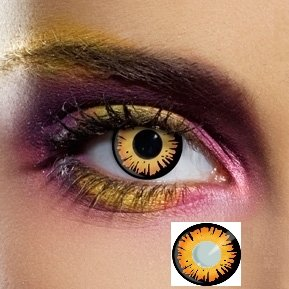 84081 Paar Kontaktlinsen linsen farbig gelb orange bella vampir werewolf halloween kostüme neu