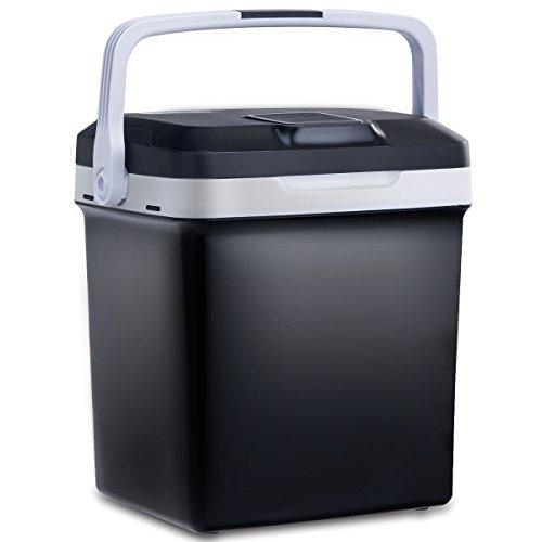 COSTWAY Elektrische Kühlbox Wärmebox Autokühlbox mit Kühl- und Warmhaltefunktion 26L AC220-240V/DC12V mit USB-Anschluss A++ (Schwarz)