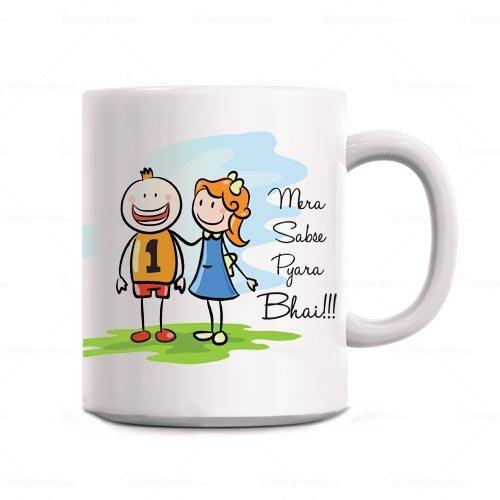 Giftsbymeeta Sweet Brother White Rakhi Gift Mug For Brother RAKHIGIFTS8549
