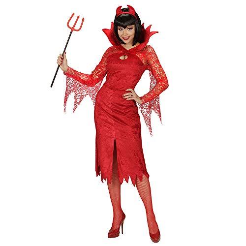 Für Kostüm Damen Bösewicht - Widmann 06272 - Erwachsenenkostüm Teufelin, Kleid und Hörner, Gröe M, rot