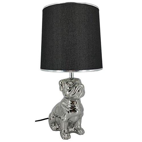 Lampe a poser en céramique forme chien hauteur 46 cm avec abat-jour diametre 22 cm E27 15W noir liseret chrome