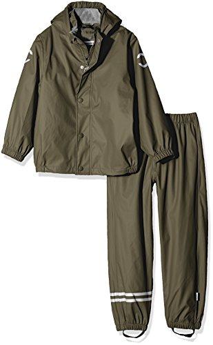 mikk-line Jungen PU Rainwear-Set Regenhose und Regenjacke Wassersäule 8000 Bekleidungsset, Grün (Dusty Olive 364), 110 Dusty Polyurethan