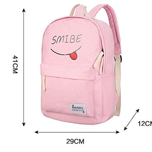 YiLianDa Zaino Ragazza Casual Scuola Set 3pcs Daypacks / Canvas Backpack Viaggio Zaino di Tela Donna Verde