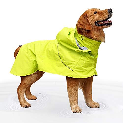 EVELOVE Regenjacke für große Hunde mit Kapuze und reflektierenden Streifen für kleine und mittelgroße und große Haustiere, M, Green#2