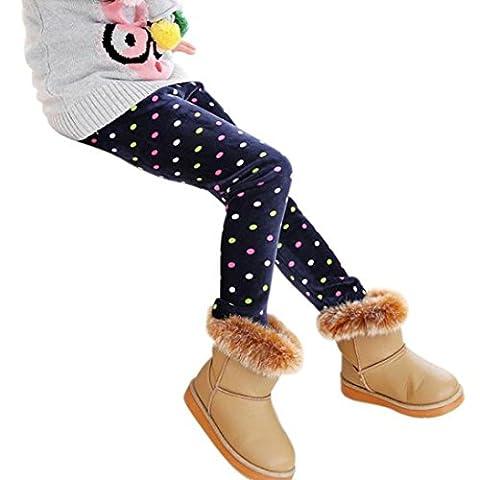 Bekleidung Longra Kinder Winter Mädchen Leggings Dicke warme elastische Taille Legging Kleidung Hosen(2-7 Jahre) (110cm 2-3Y,