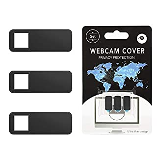 MoKo Webcam Cover, 3 Pack Ultra Slim Sliding Web Camera Cover Strong Adhesive, Protect Your Security & Privacy, Fits Laptop, Desktop, PC, iMac, Macboook, iPad, Smartphone More - Black