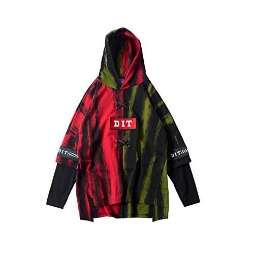 Irypulse Herren Kapuzenpullover Hoodies Sweatshirts Pullover Langarm Dip Dye Schnürung Casual Tops Mode Urban Stil Trend Hip Hop Jugendliche Jungen für Freizeit Outdoor - Original Design Schnürung Design