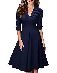 Miusol® Damen 3/4 Arm Sommer Rockabilly Cocktailkleid Stretch Business retro 50er Jahre Kleid Blau EU 36-48