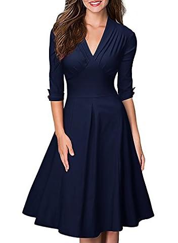 Miusol Damen 3/4 Arm Sommer Rockabilly Cocktailkleid Stretch Business retro 50er Jahre Kleid Blau Groesse XXL