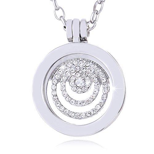 Morella Mujeres Small Coin 23 mm Collar Acero Inoxidable 70 cm Anillos de estrás Plateado con Bolsa de Terciopelo