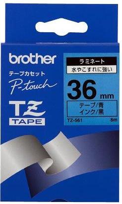 Brother TZ561 Schriftbandkassette 36mm x 8m blau auf schwarz laminiert für P-touch series