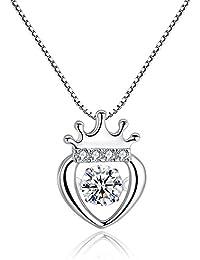 KOMO Pendentif en argent collier femme amour couronne exposés fashion pendentifs en forme de coeur zircon fine chaîne clavicule