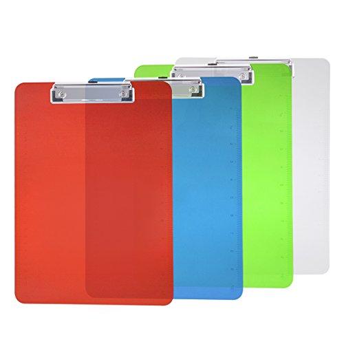 NUOLUX 4pcs bunte Clip-Board Kunststoff A4 Klemmbrett für Memo-Papier-Dateien Holding