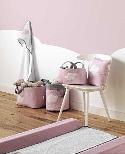Belino 623213 - Bolsa juguetero acolchado, diseño motas y nube, 30 x 45 x 27 cm, color rosa