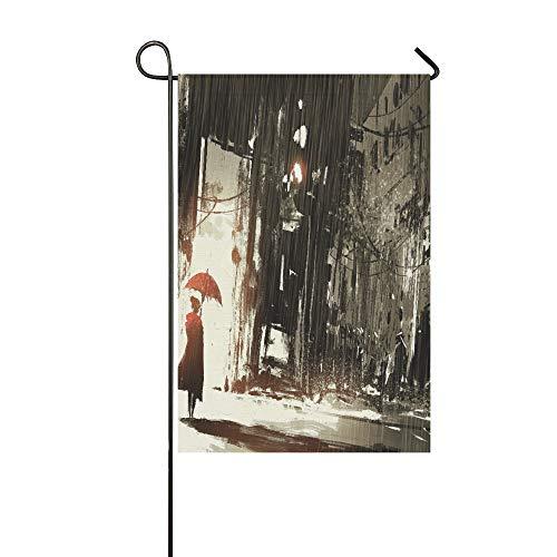 Home Dekorative Outdoor Doppelseitige Einsame Frau mit Regenschirm in verlassener Stadt, Garten-Flagge, Garten-Hof-Dekorationen, saisonale Willkommensflagge, 30,5 x 45,7 cm, Frühlingssommer-Geschenk